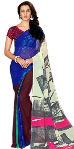 Soothing Designer Marbel Chiffon Printed Saree for Ladies