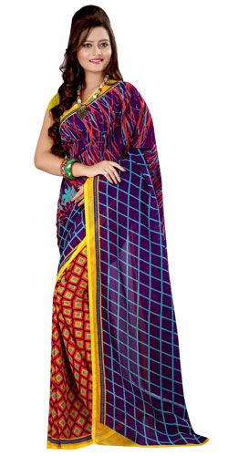 Fabulous Multicoloured Georgette Printed Saree