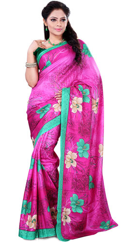 Marvelous Printed Crepe Saree in Lovely Pink Colour