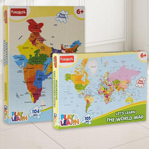 Wonderful Funskool India Map World Map Puzzle Set