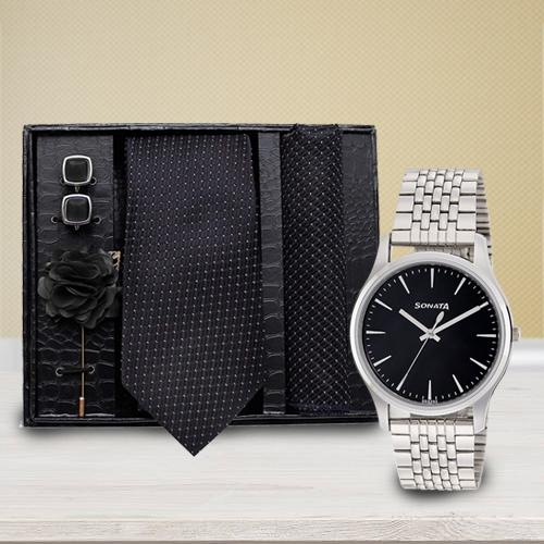 Amazing Sonata Analog Watch N Neck Tie with Cufflinks