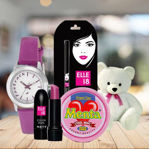 Exclusive Fastrack Watch with Cosmetics, Teddy N Chocolates